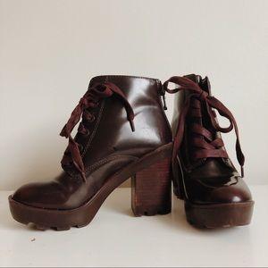 ALDO Serinna Chunky Burgundy Platform Boots | 7.5